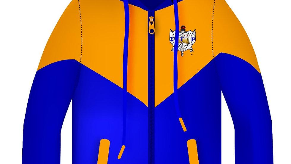 Sgrho New Blue/Gold Zip Hoodie