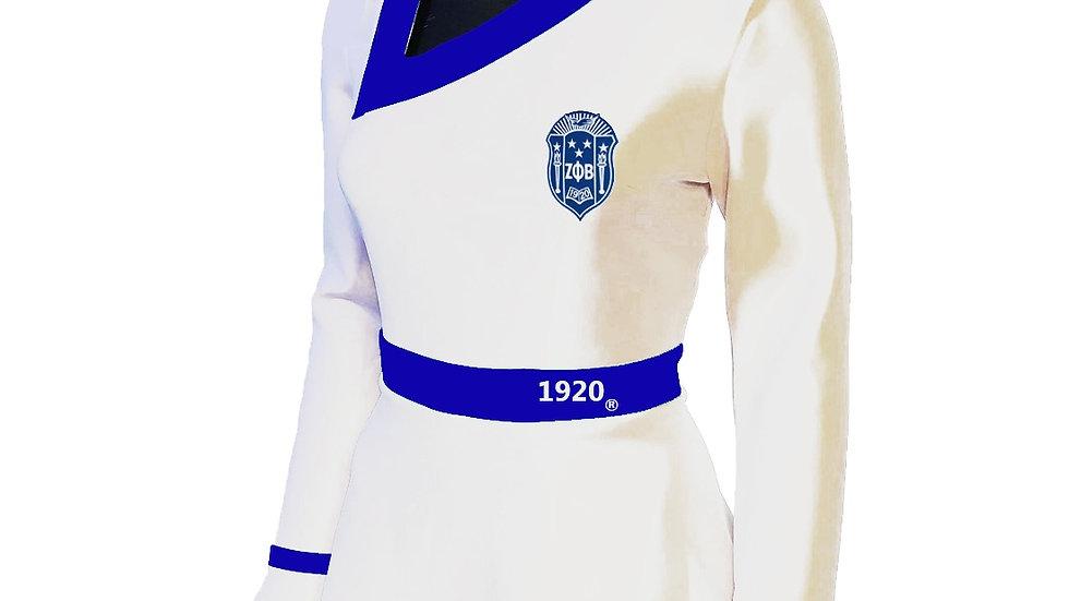Zeta White Peplum Shield Shirt