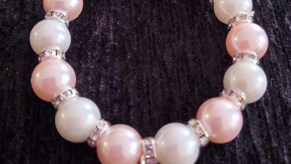 Tlod Letter Pink n white Pearl Bracelet