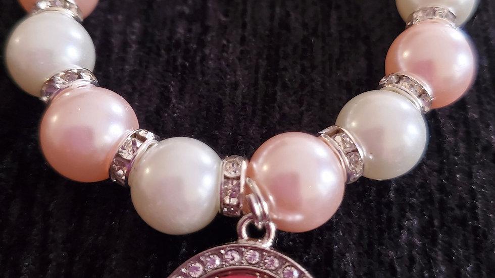 Tlod Pink n white Pearl Bracelet