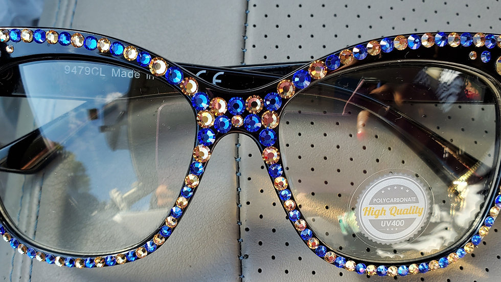 Blue n Gold Bling Clear Glasses