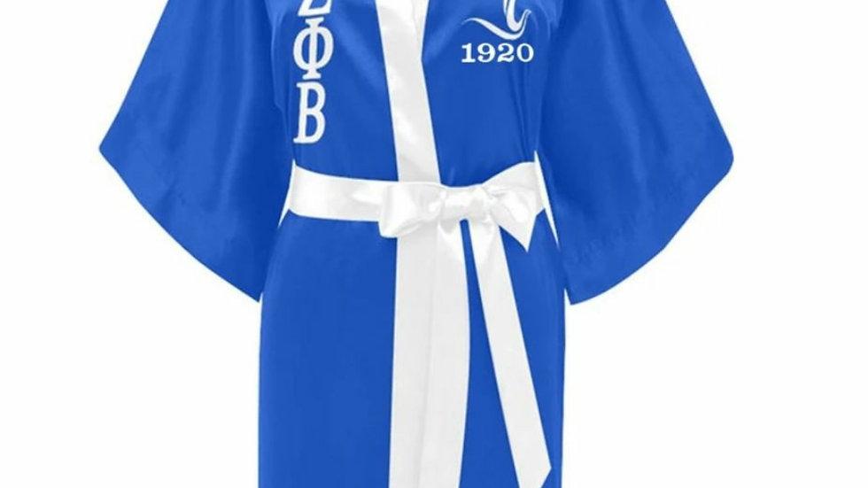 Zeta Blue n White Dove Robe
