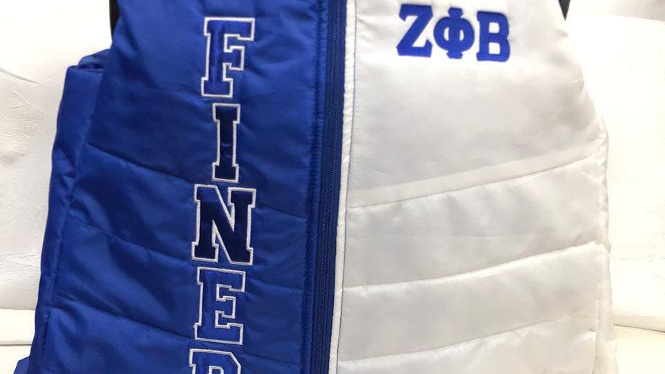 Zeta Finer Blue & White Vest