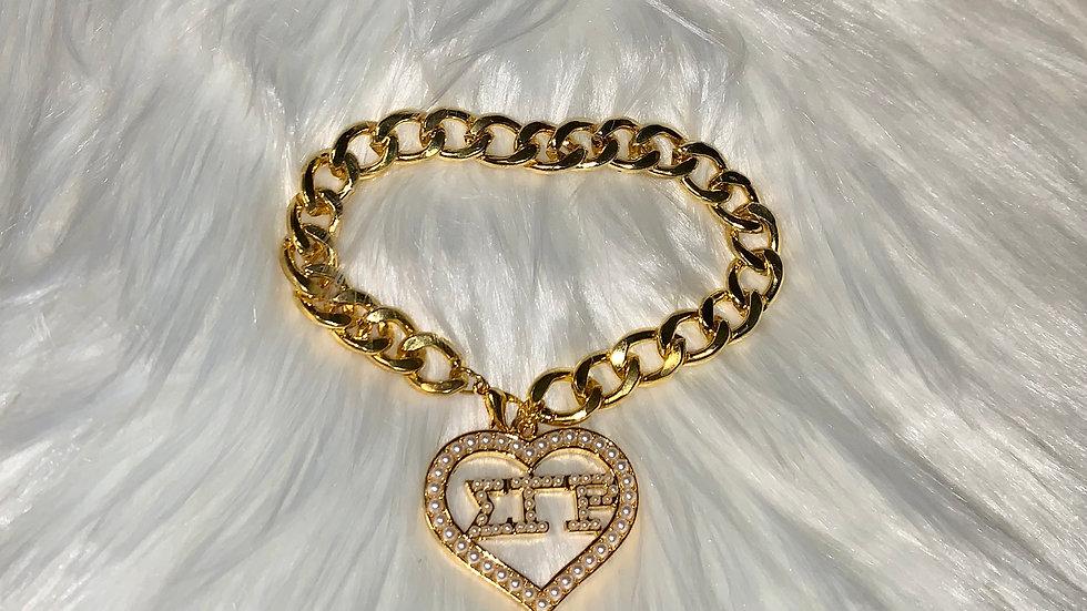 Sgrho pearl heart chain bracelate