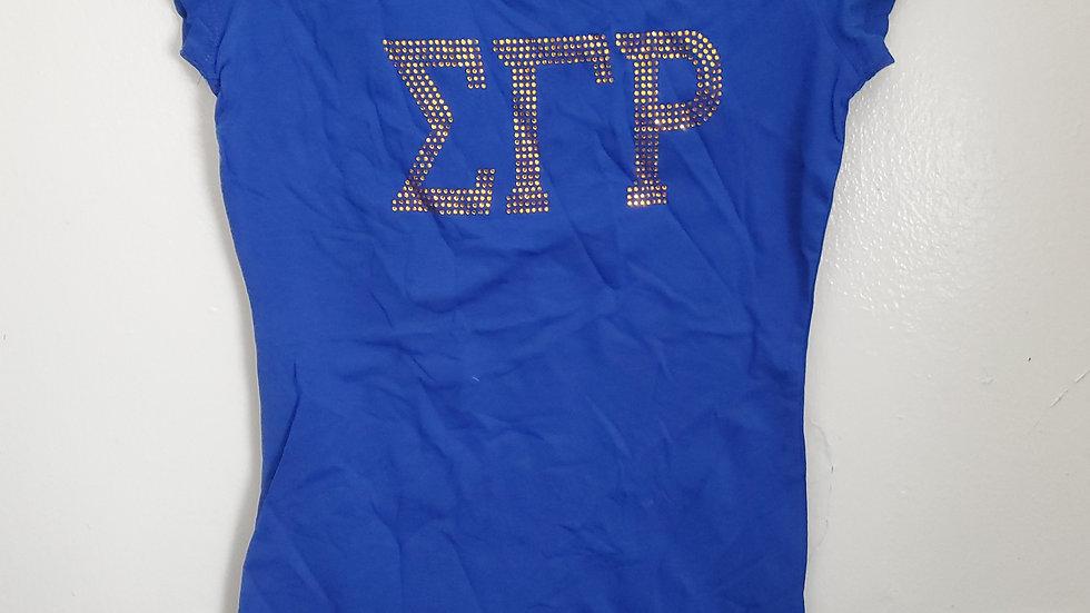 Sgrho Blue Letter Bling Shirt