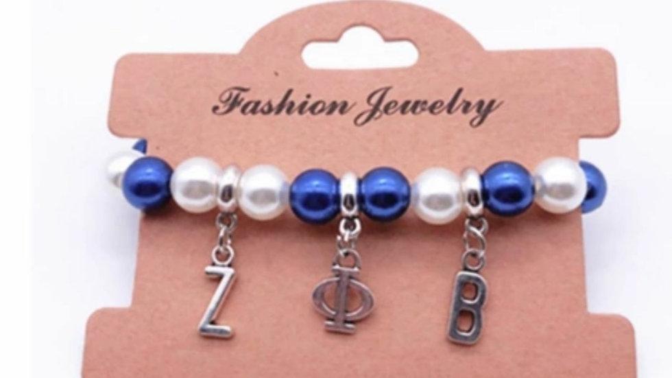 Zeta Blue n White Pearl Bracelet