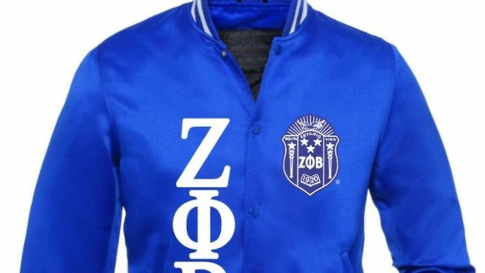 Zeta Blue/white Satin Jacket