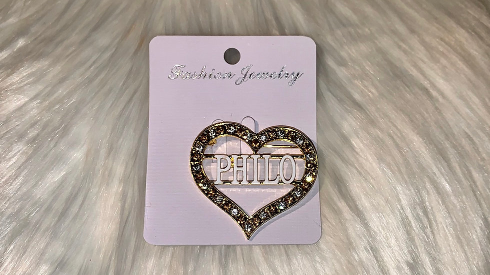 Philo bling heart pin