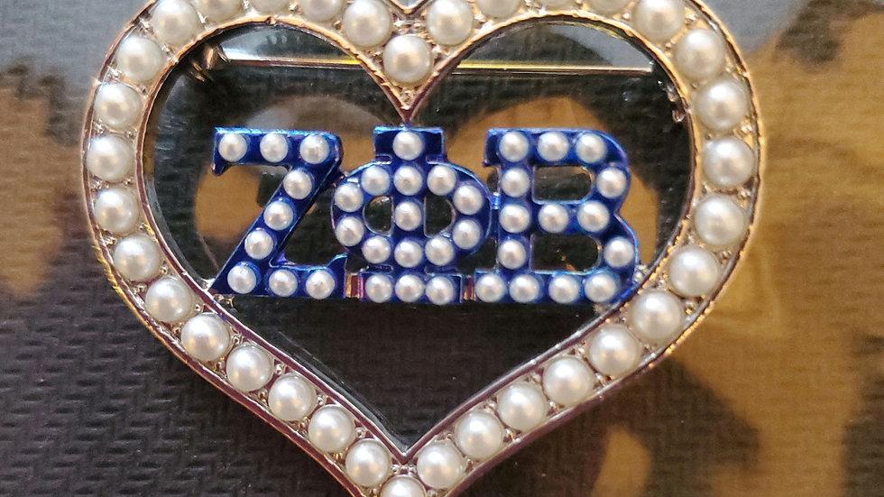 Zeta Heart Pearl Pin