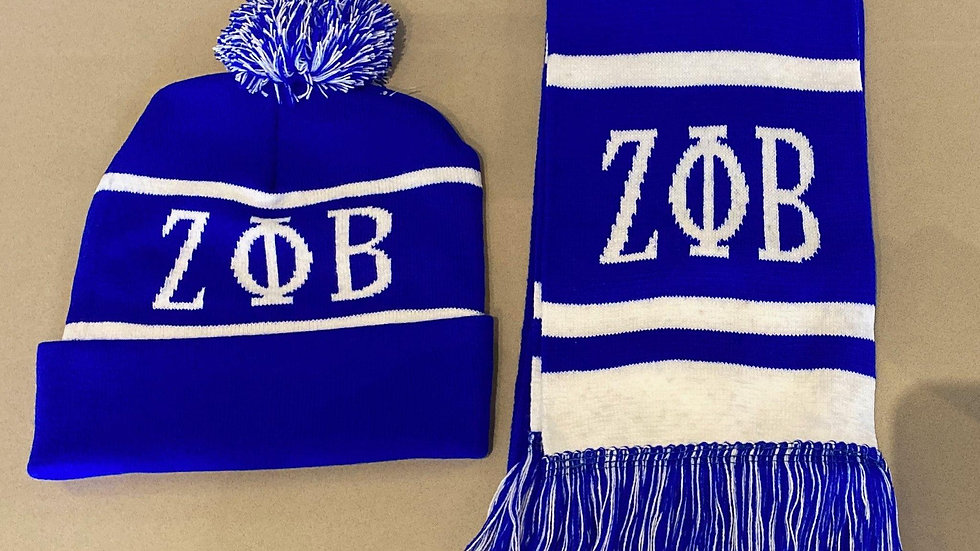 Blue zeta scarf set