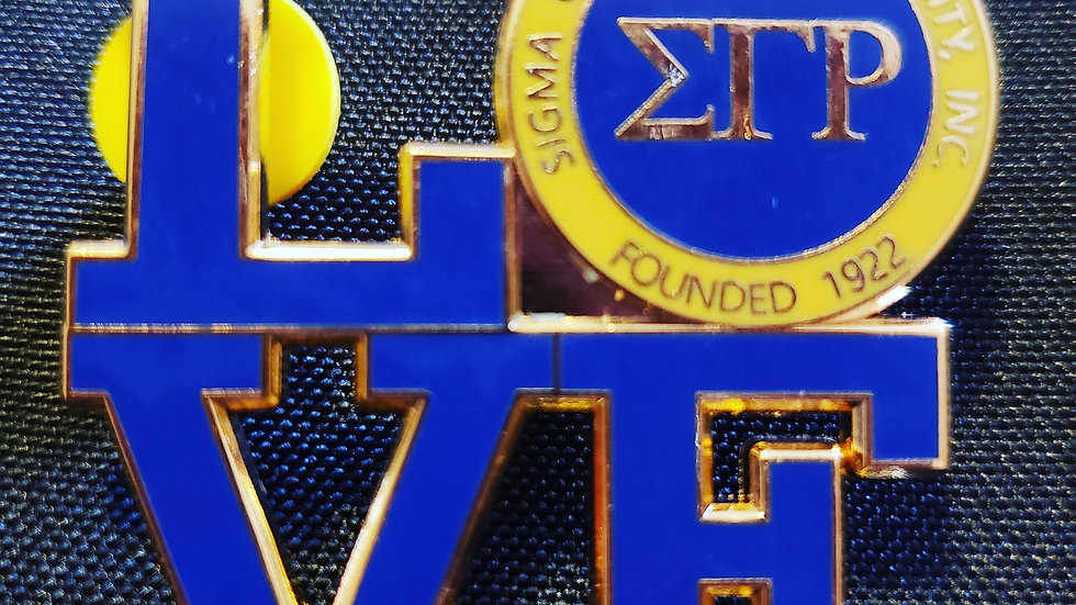 Sgrho gold and blue love pin