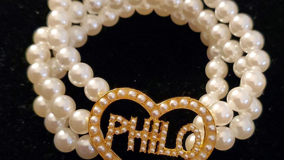 Philo Heart Pearl Bracelet
