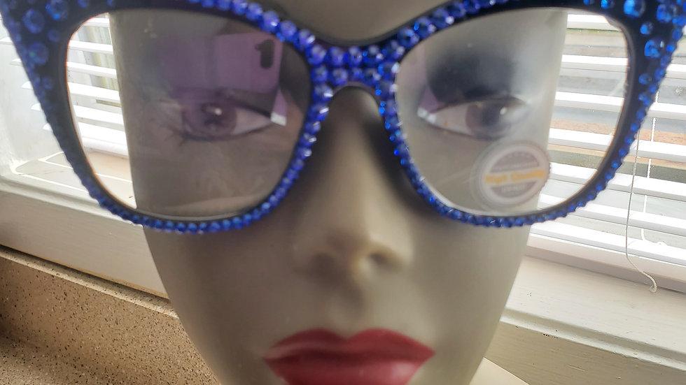 Blue Bling Glasses