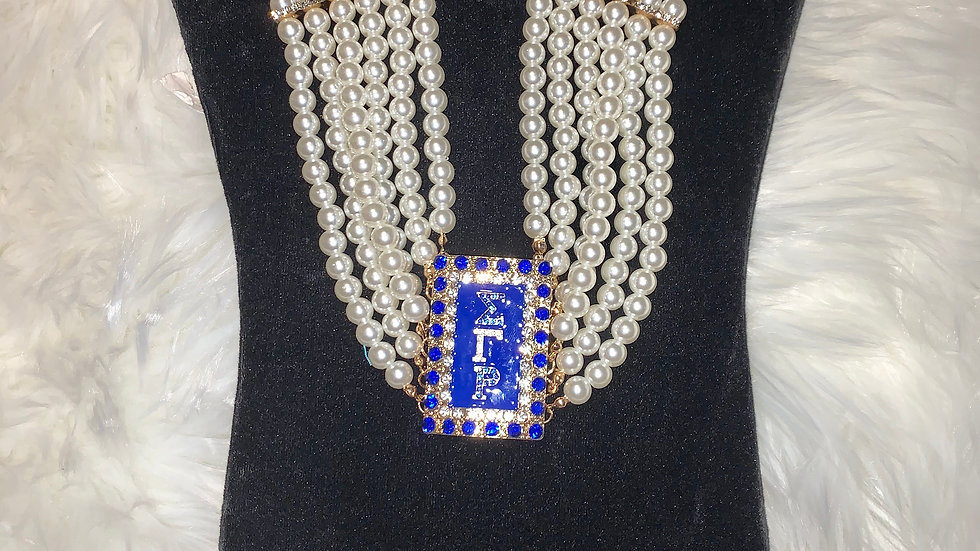 Sgrho bling pearl 5 strand necklace