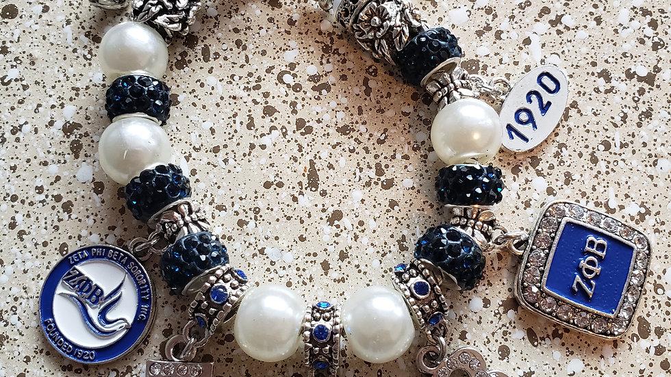 Zeta Pearl Charm Bracelet