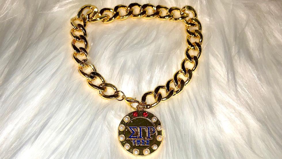 Sgrho round pendant chain bracelet