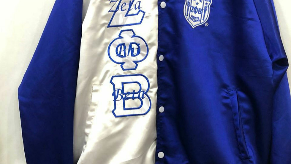 Zeta New Blue n White Satin Jacket