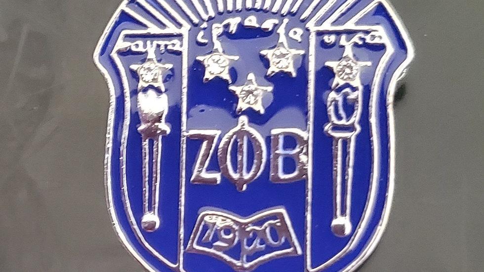 Zeta Metal Shield Brooch