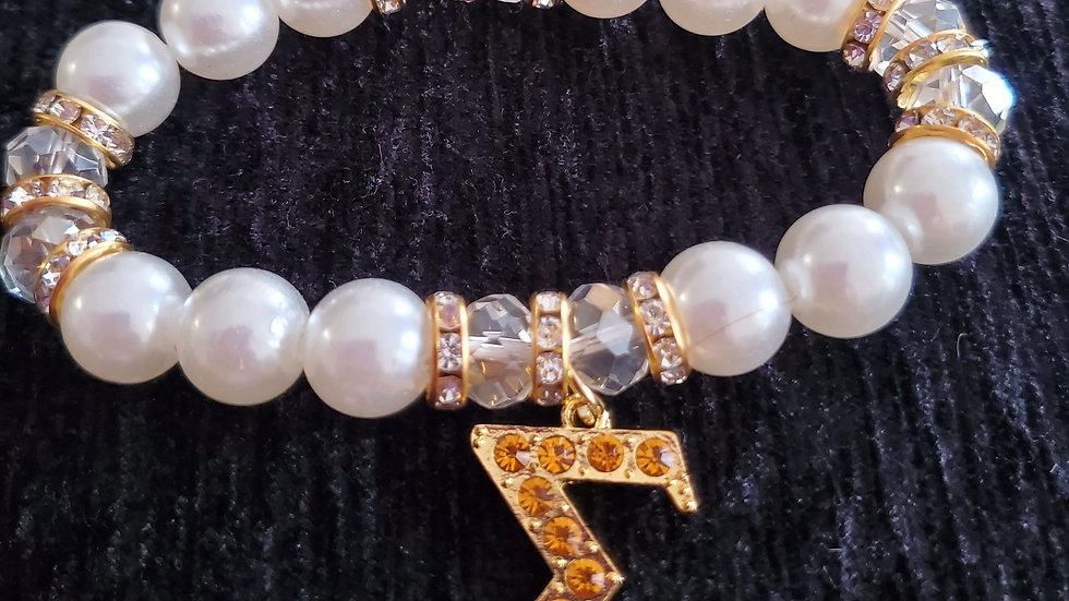 Sgrho Gold Sigma Pearl Bracelet