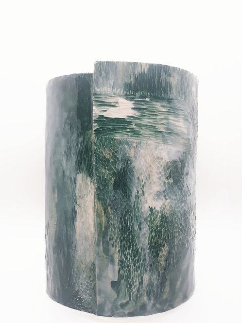 Large water colour carved vase