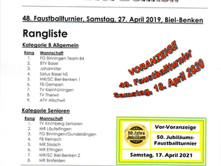 Faustballturnier Biel-Benken 2019