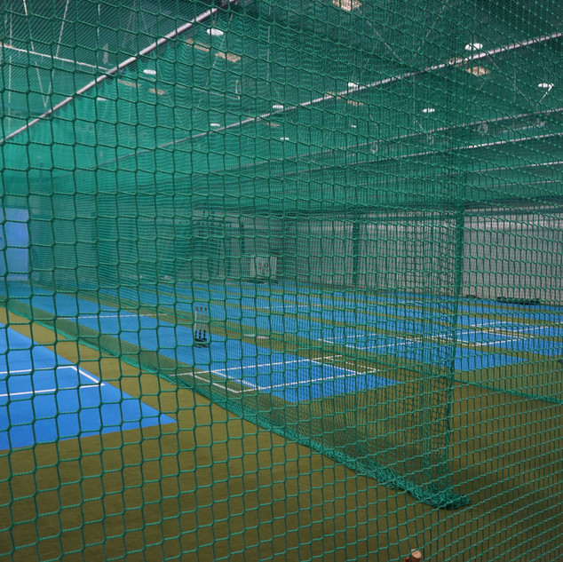 Blue Cricket Pitch with Nets