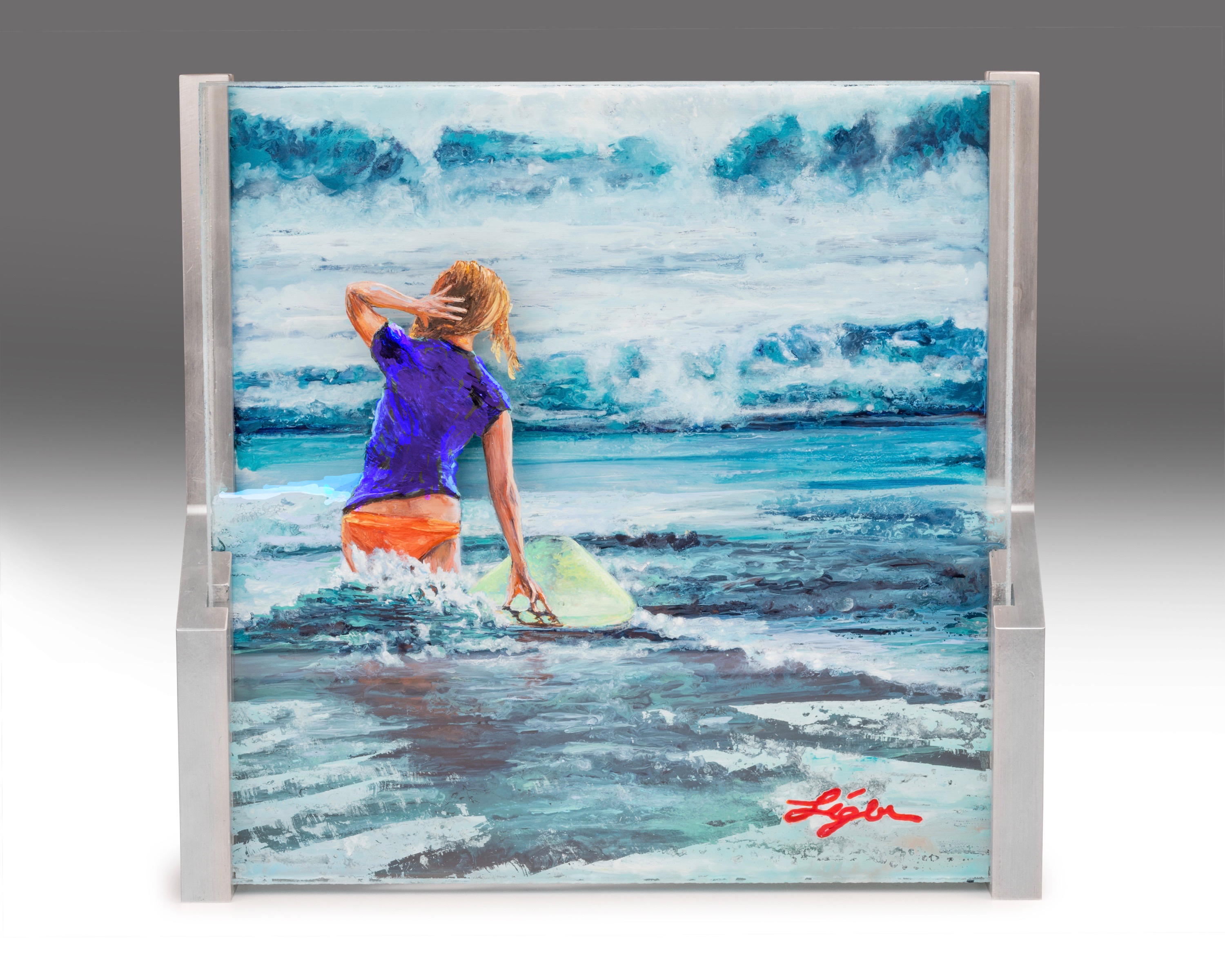 Surfer Girl Chasing Waves