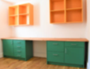Modular fitted office units, beech worktop, brirch plywood, soft close drawers