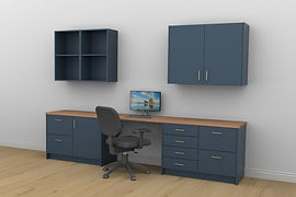 Fitted home office layout with wall shelves