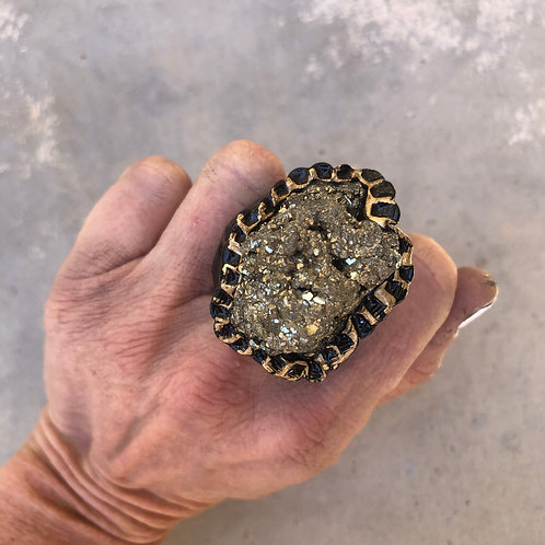 SIZE 7.5 / PYRITE CLUSTER RING
