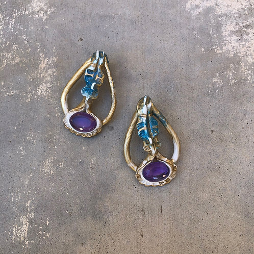 EAR LOVE 6 ~AMETHYST ORNATE EARRINGS