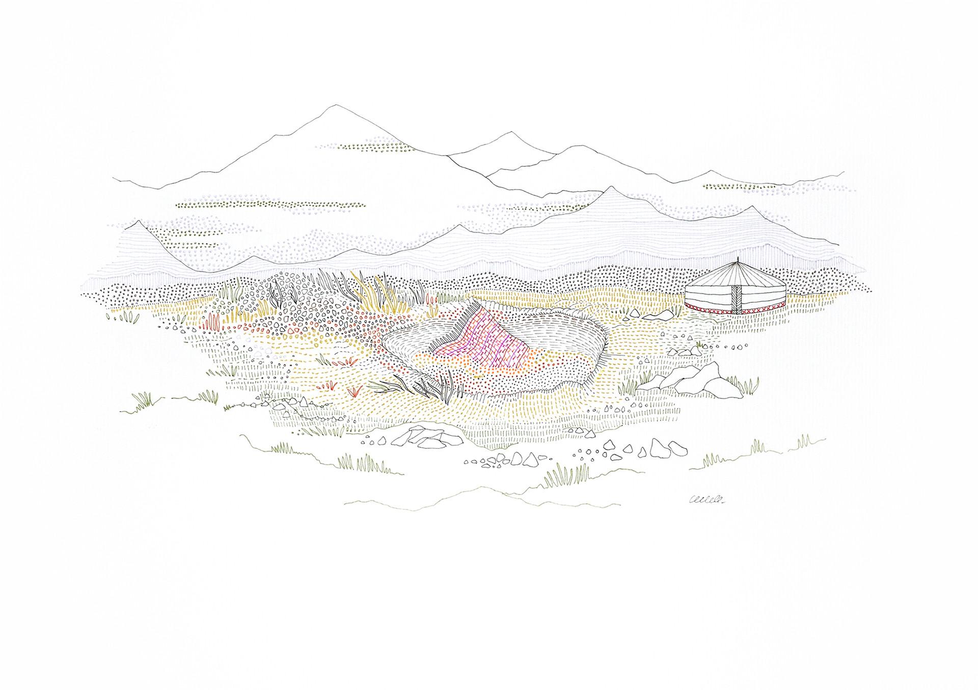 Steppe - Sépulture d'un fichu // 42 x 29,7 cm