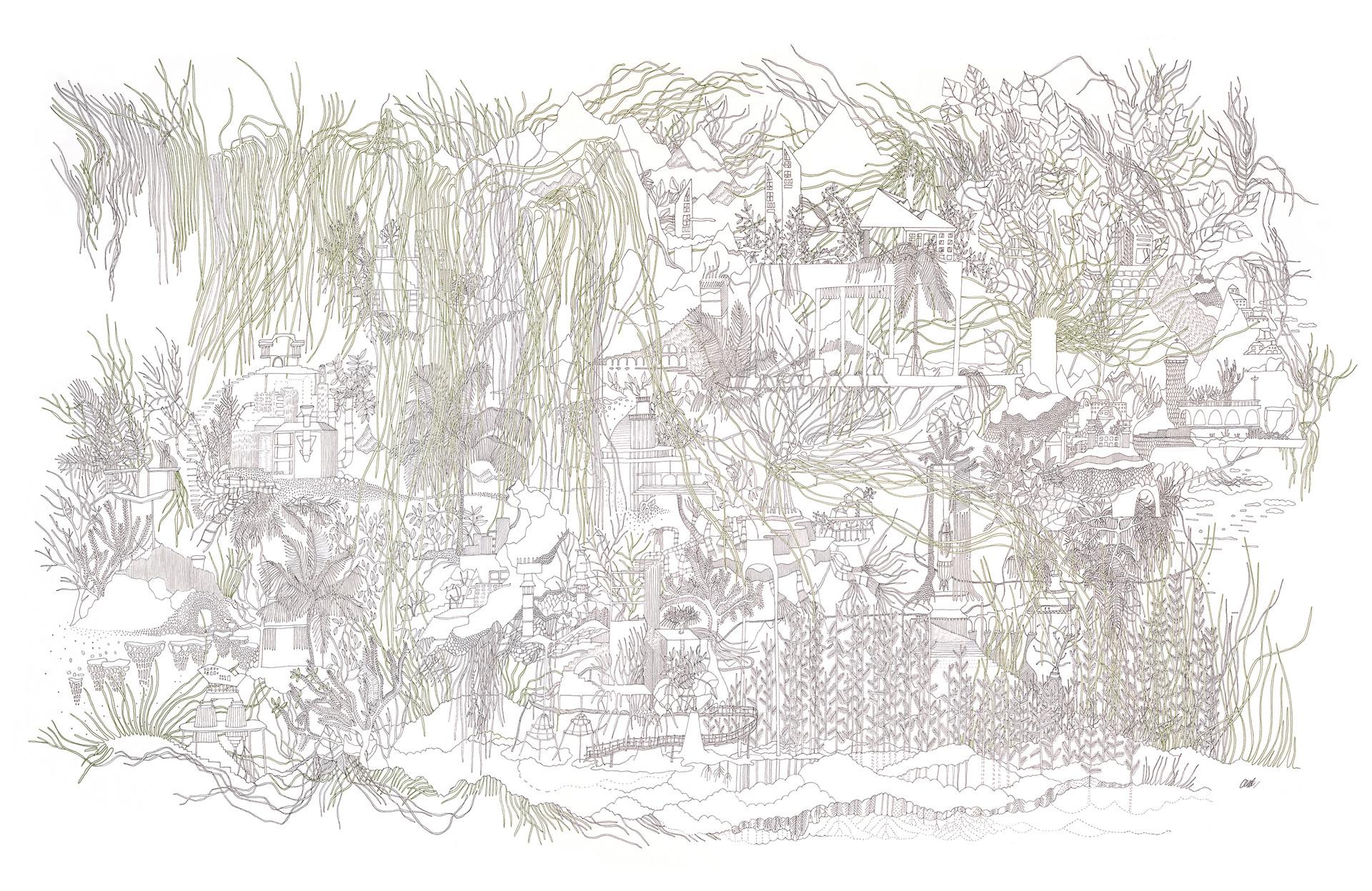 Babel flottante // 120 x 80 cm