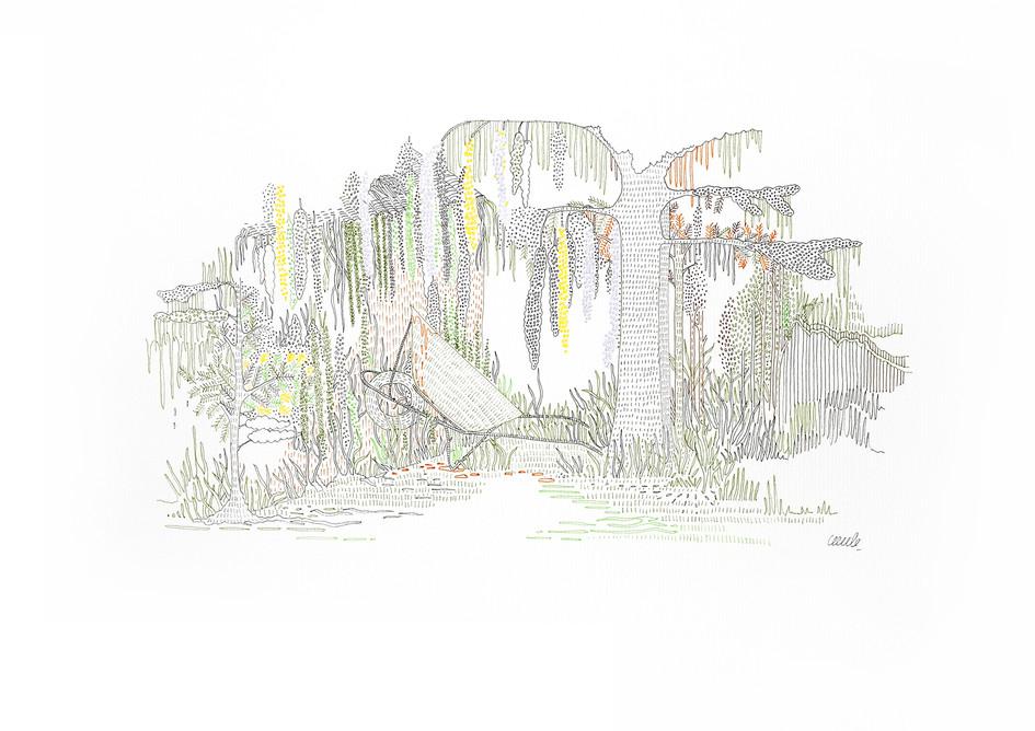 Van Winkle Rd, New Iberia - Jardin des voisins // 42 x 29,7 cm