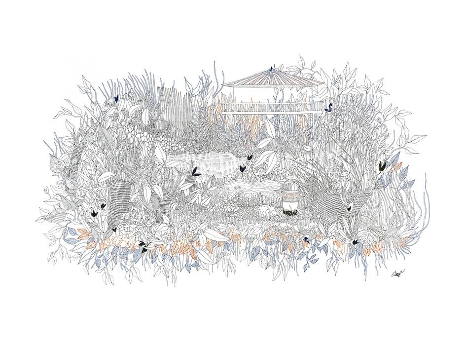 Palavas - Kiosque sur jardin en plan inversé // 70 x 50 cm // Vendu