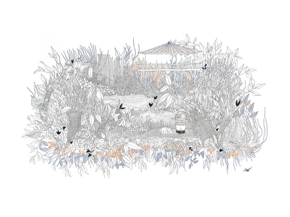 Palavas - Kiosque sur jardin en plan inversé // 70 x 50 cm