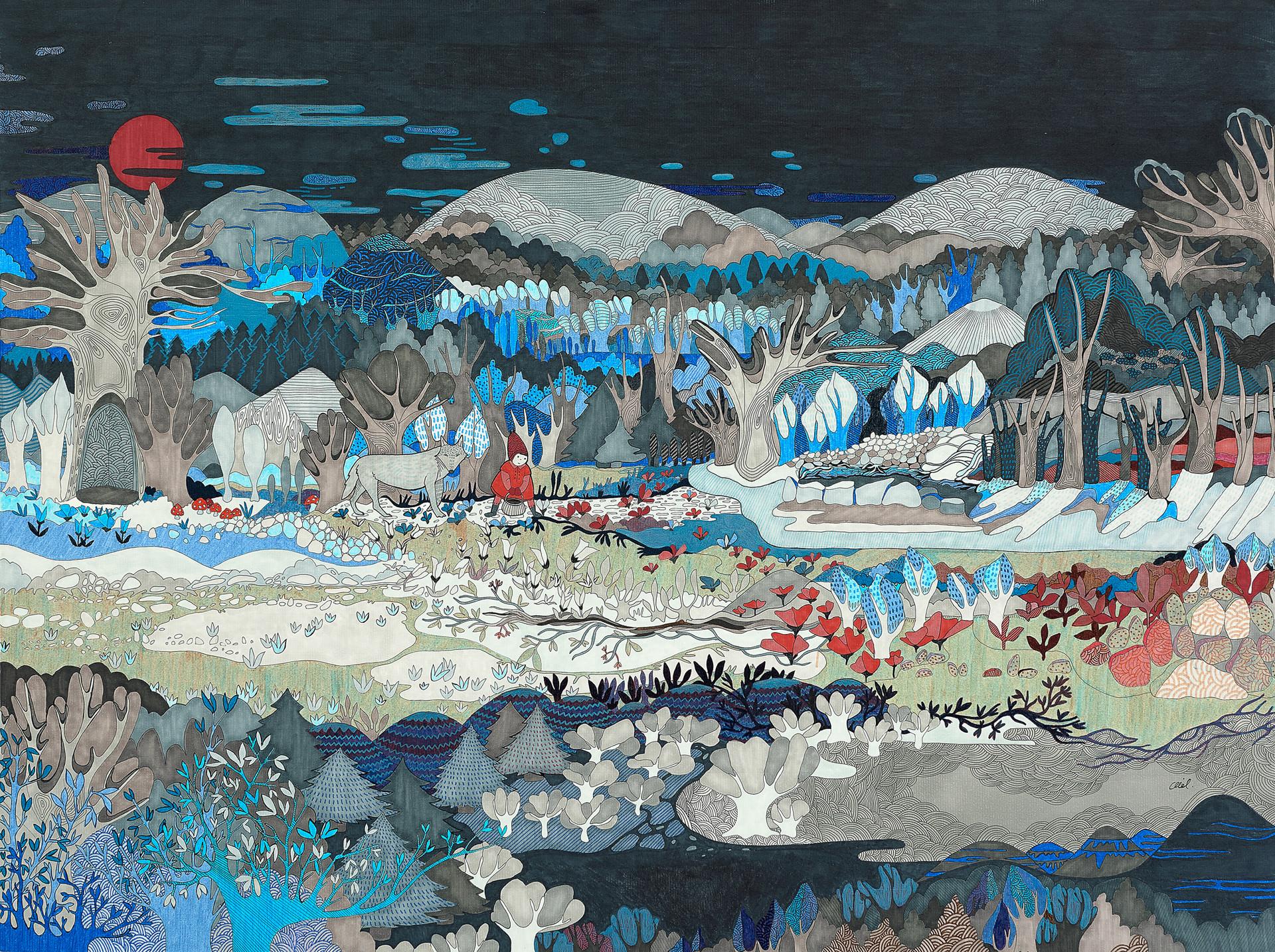 Forêt nordique (et Chaperon) // 80 x 60 cm