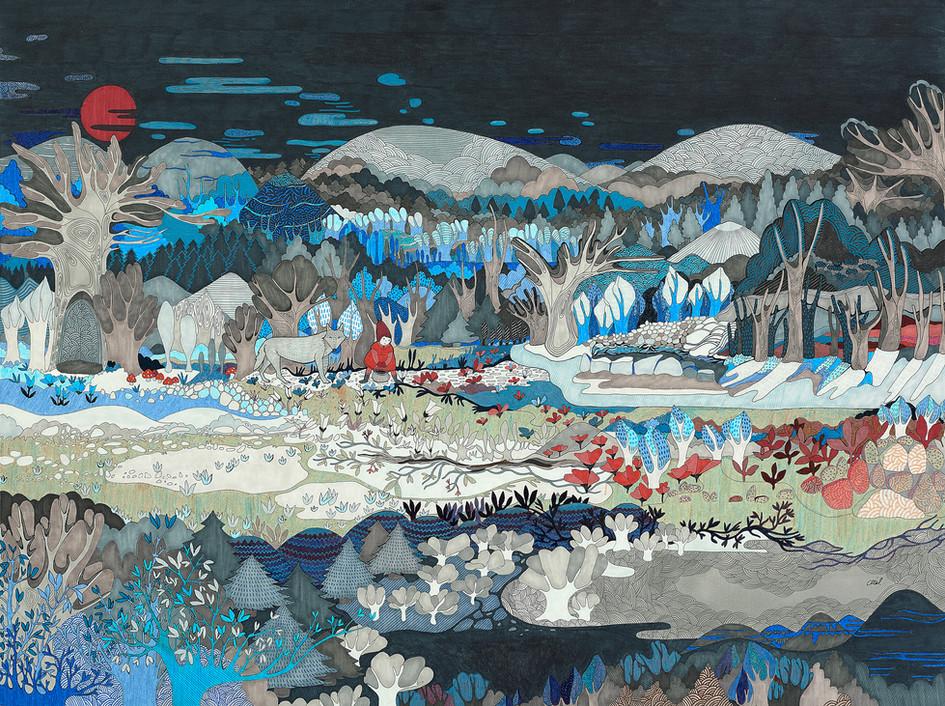 Forêt nordique (et Chaperon) // 80 x 60 cm // Vendu