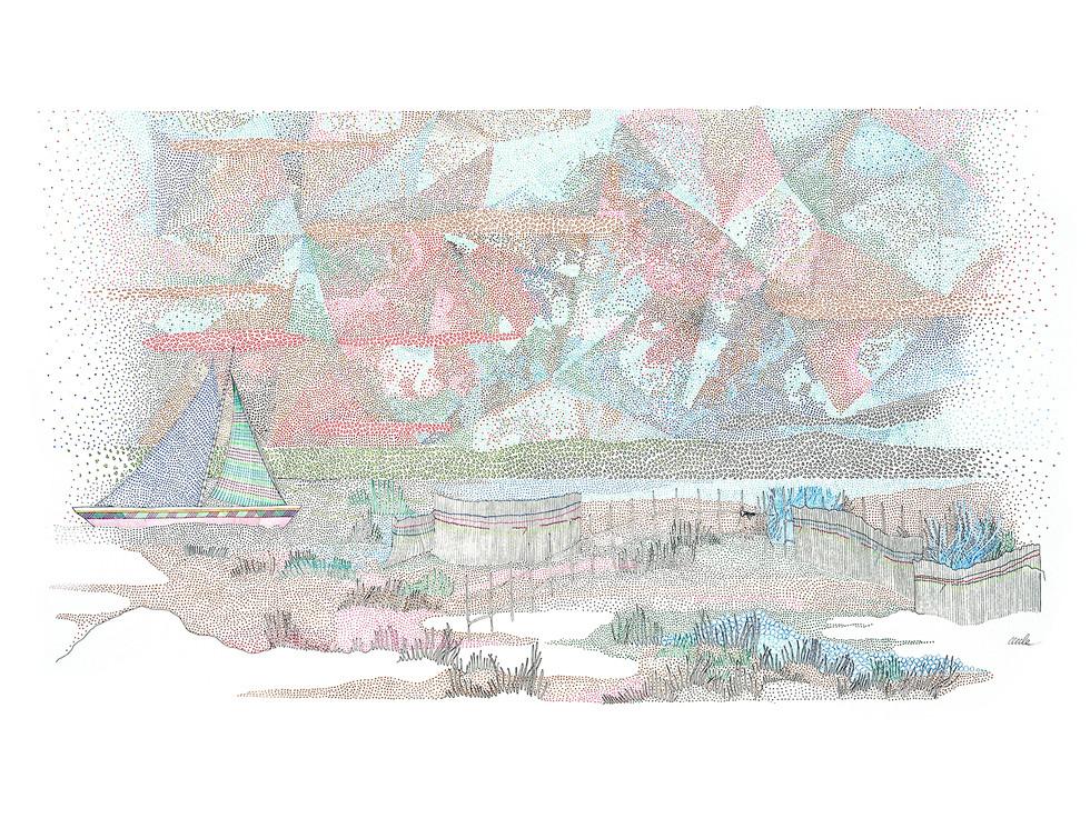 France - Petits sablés en diagonale // 80 x 60 cm