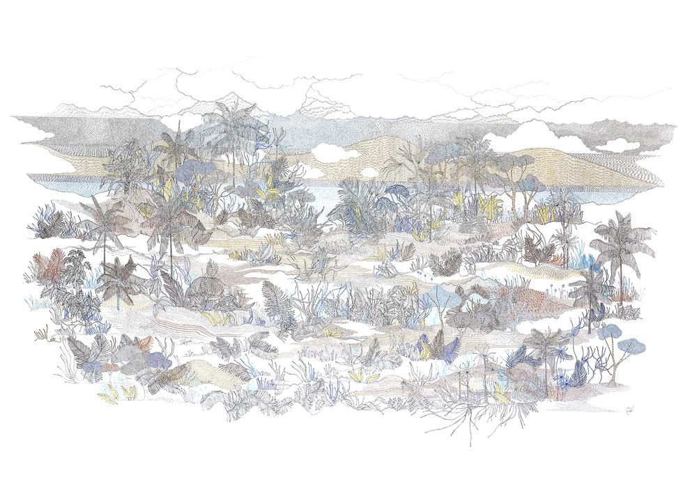 Palavas - mer, sable et bigorneaux // 120 x 80 cm