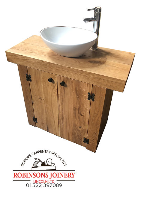 Vanity Unit Wash Stand With Doors Rustic Oiled Finish Handcrafted