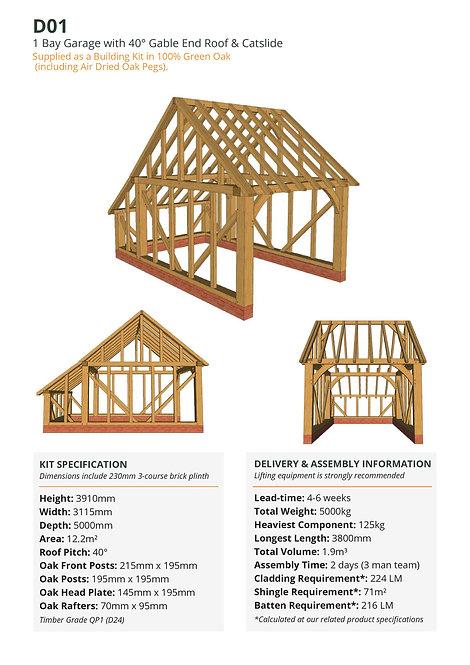 Oak Frame Garage Kit – 1 Bay, Gable End & Catslide