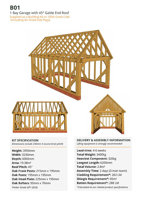 Oak Frame Garage Kit – 1 Bay, Gable End