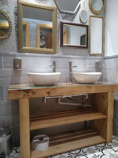 Vanity Unit Wash Stand Sink Basin Solid Oak With Bespoke Glass Top