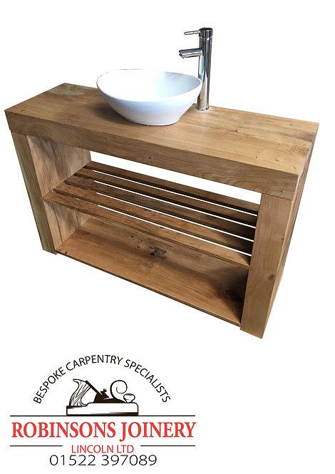 Vanity Unit Wash Stand Sink Basin Solid Oak Bespoke Rustic Waxed Finish Slatted