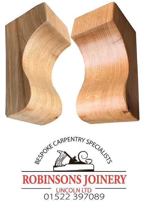 Solid Oak corbels curved design floating shelf brackets