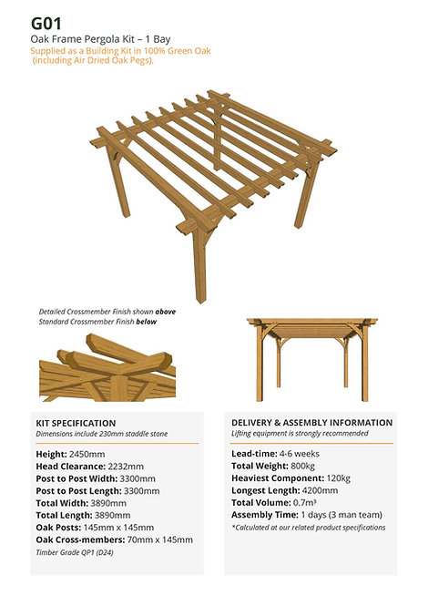 Oak Frame Pergola Kit – 1 Bay
