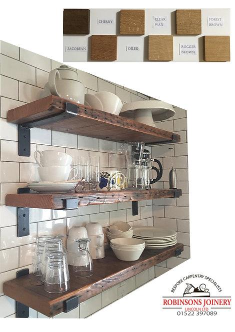 Rustic chunky pine shelf with brackets