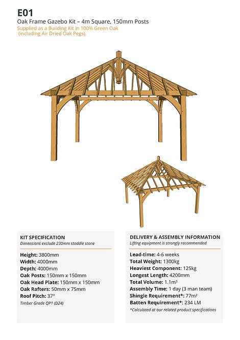 Oak Frame Gazebo Kit – 4m Square, 150mm Posts