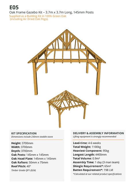 Oak Frame Gazebo Kit – 3.7m x 3.7m Long, 145mm Posts